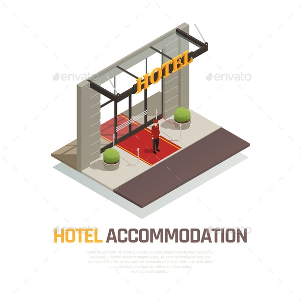 Hotel Accommodation Isometric Composition - People Characters