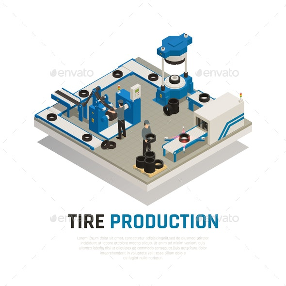 Tire Production Isometric Composition - Industries Business