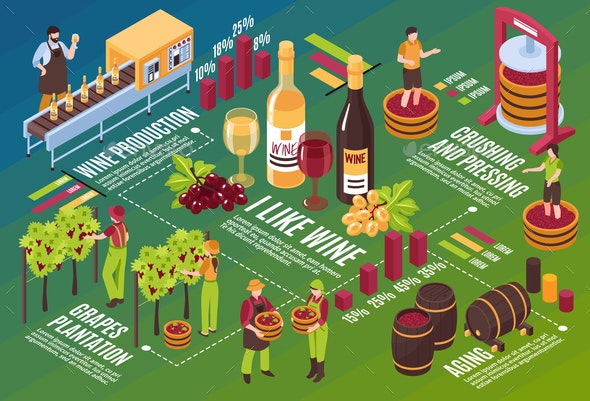 Winery Isometric Flowchart - Industries Business