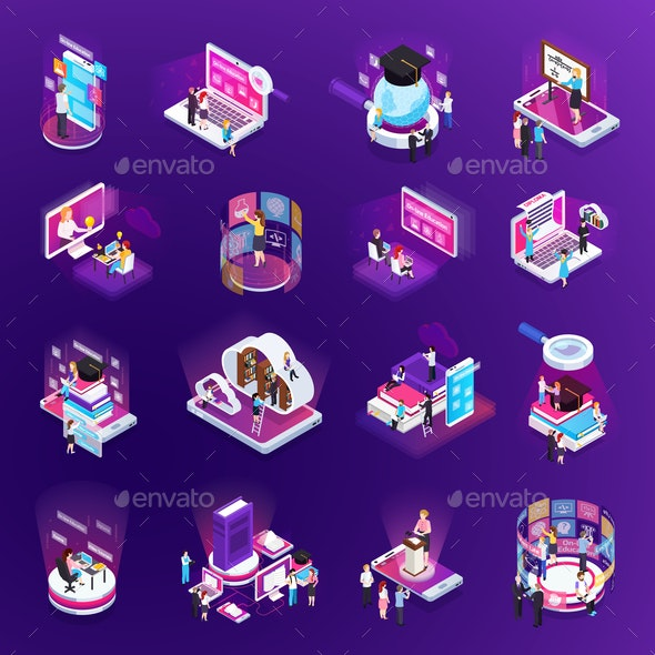 E-Learning Isometric Set - Backgrounds Decorative
