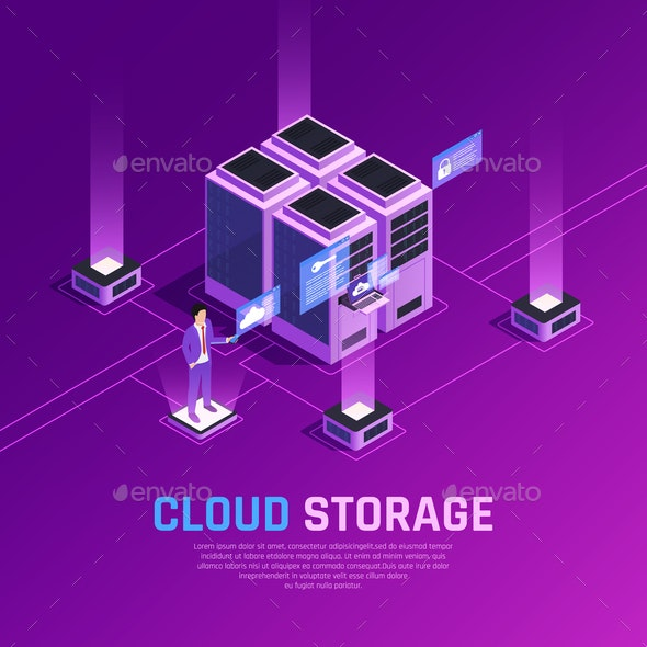 Cloud Storage Isometric Background - People Characters