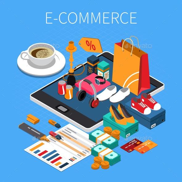 E-Commerce Isometric Composition - Backgrounds Decorative
