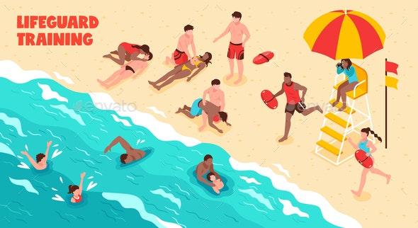 Lifeguard Training Horizontal Illustration - Seasons Nature