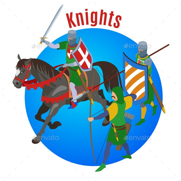 Medieval Knights Circle Background - Miscellaneous Vectors