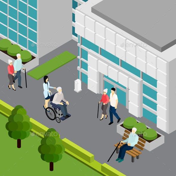 Pensioners Isometric Illustration
