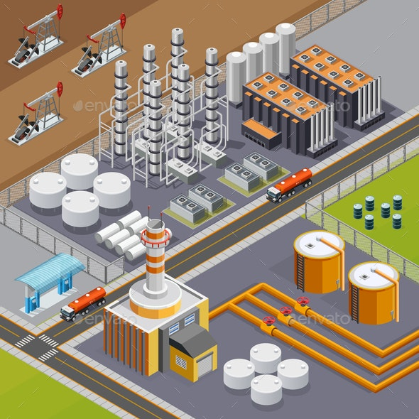 Oil Industry Isometric Composition - Miscellaneous Vectors