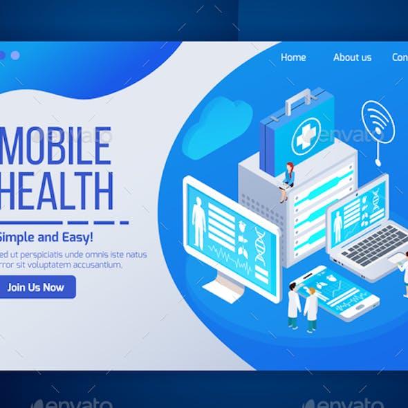 Mobile Health Isometric Design