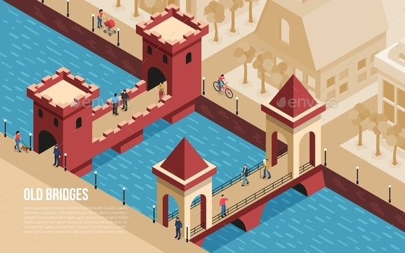 Old Bridges Isometric Composition - Buildings Objects