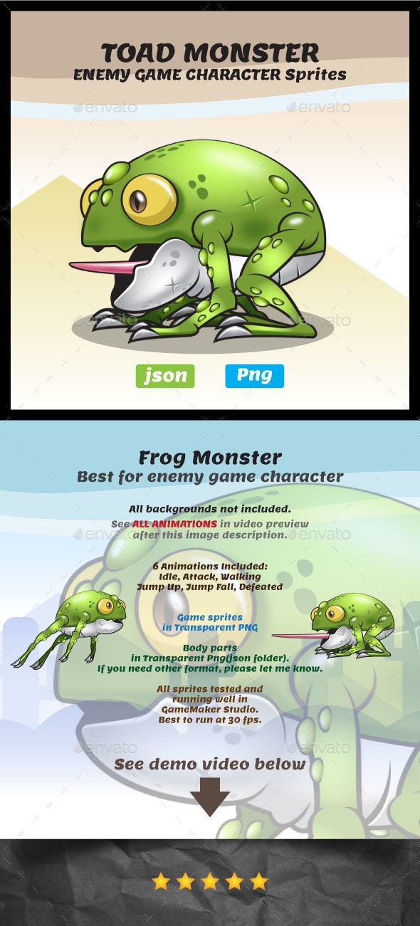 Monster Toad Sprites - Enemy Game Character - Sprites Game Assets