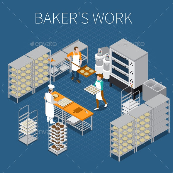 Bakers Factory Isometric Background - Industries Business