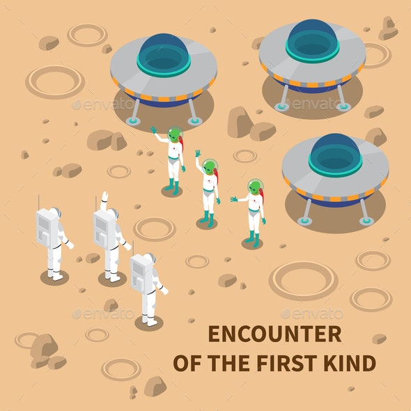 Aliens Encounter Isometric Composition - People Characters