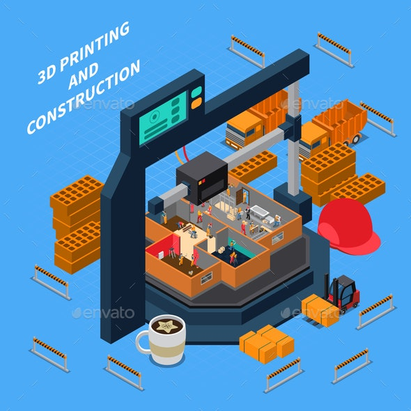3D Construction Isometric Concept - Industries Business