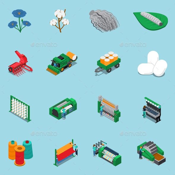 Textile Fabrication Icon Set - Industries Business