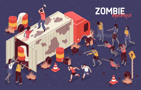 Isometric Zombie Struggle Background - Miscellaneous Vectors