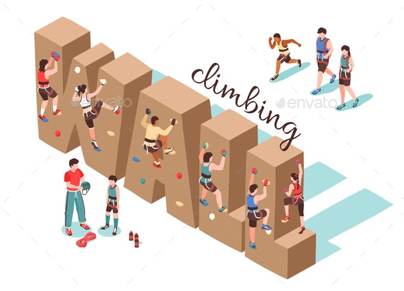Climbing Wall Isometric Background - Sports/Activity Conceptual