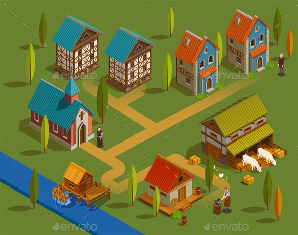 Medieval Settlement Isometric Composition - Buildings Objects