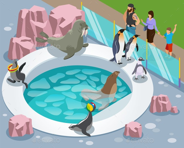 Petting Zoo Isometric Composition - Animals Characters