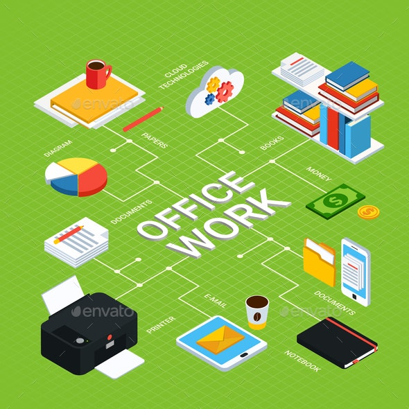 Office Work Isometric Background - Concepts Business