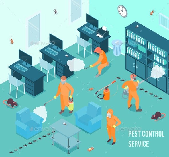 Disinfection Isometric Illustration - People Characters