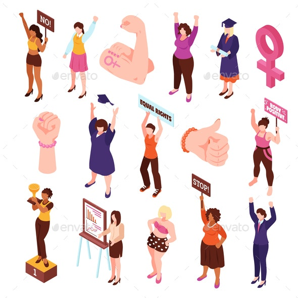 Isometric Feminist Characters Set - Miscellaneous Vectors