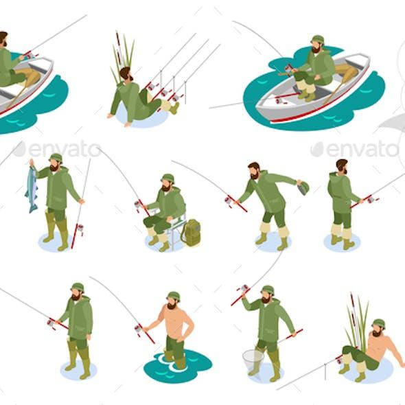 Fishermen Isometric Icons