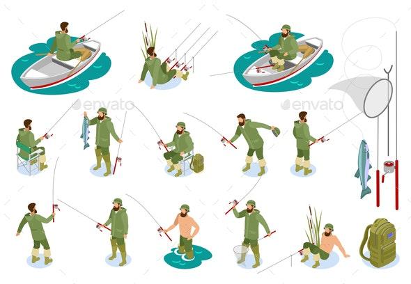Fishermen Isometric Icons - Sports/Activity Conceptual