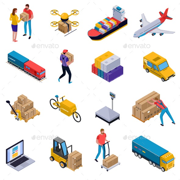 Isometric Delivery Set - Industries Business