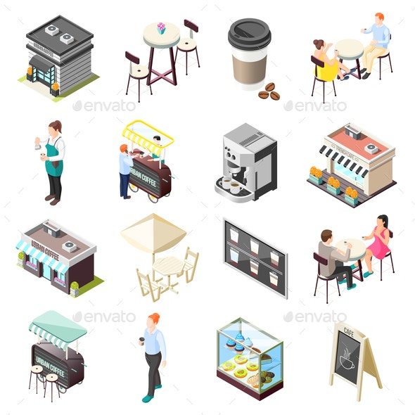 Street Coffee Isometric Icons Set - Buildings Objects