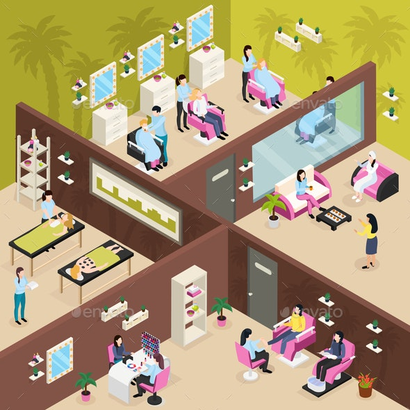 Beauty Center Isometric Composition - Industries Business