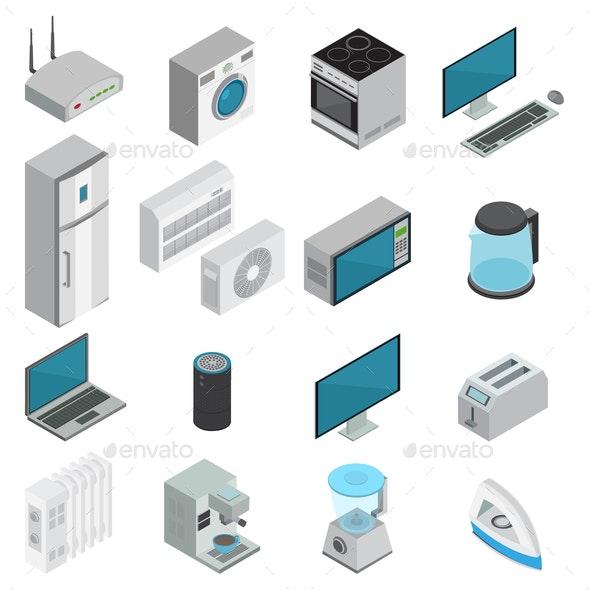 Electronics Isometric Set - Computers Technology