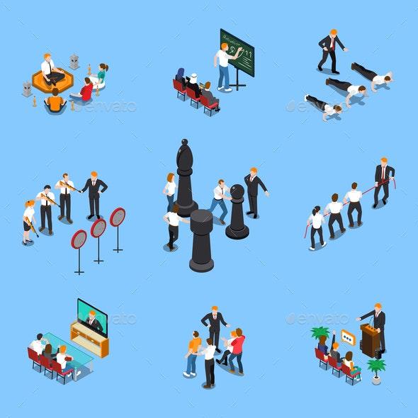 Business Coaching Isometric Set - Miscellaneous Vectors