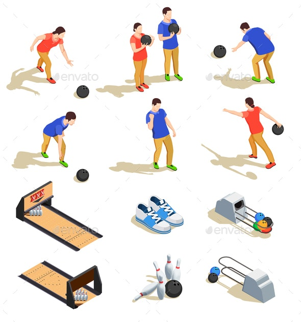 Bowling Isometric Icons Set - Sports/Activity Conceptual