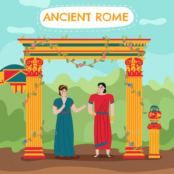 Flat Roman Couple Background - Religion Conceptual