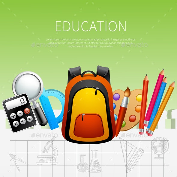 Education Realistic Poster - Miscellaneous Vectors