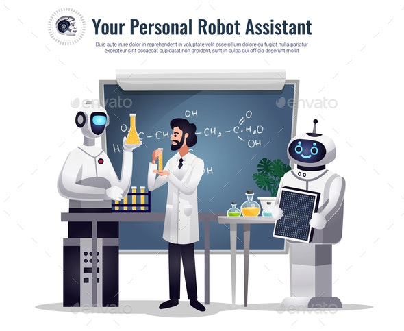 Robots Scientific Research Composition - Health/Medicine Conceptual