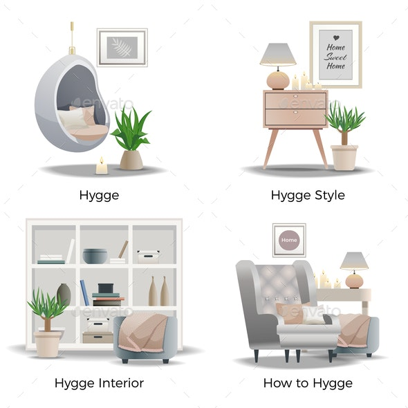 Danish Hygge Style Concept - Miscellaneous Vectors