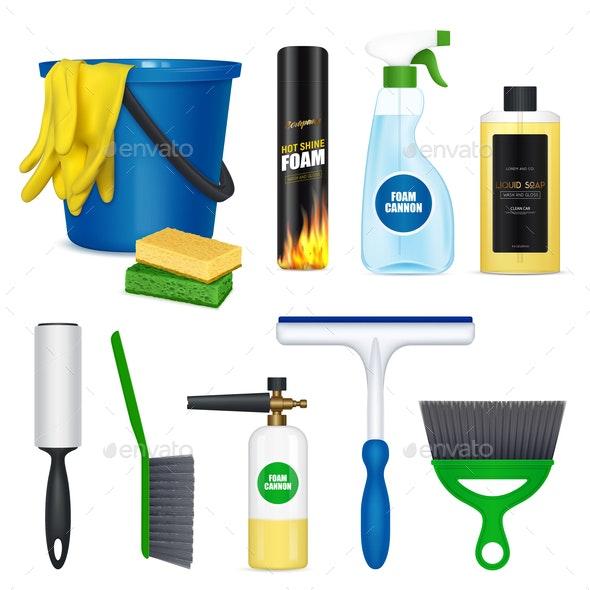 Car Cleaning Set Realistic - Miscellaneous Vectors