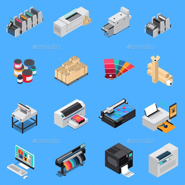Printing House Isometric Set - Industries Business