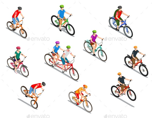 Cyclists Isometric Icons Set - People Characters
