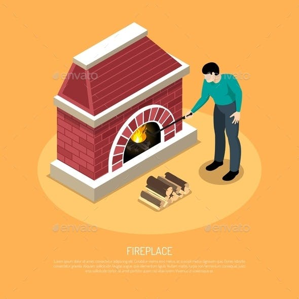 Fire Place Isometric Illustration