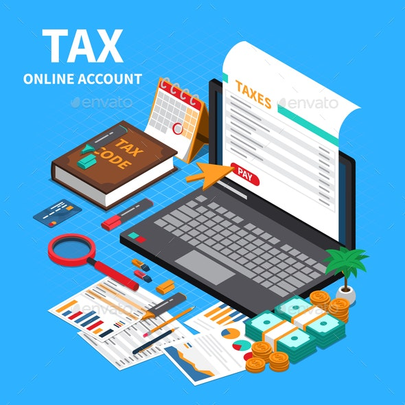 Accounting Tax Isometric Composition - Backgrounds Decorative