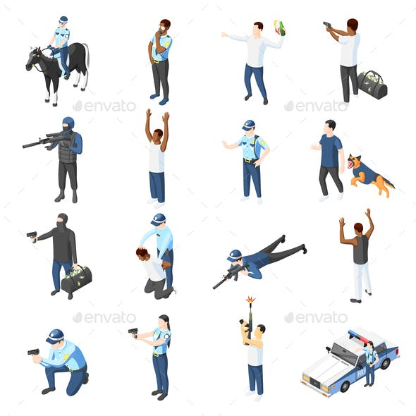 Gangs and Police Isometric Icons
