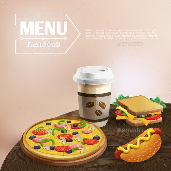 Fast Food Cartoon Background - Food Objects
