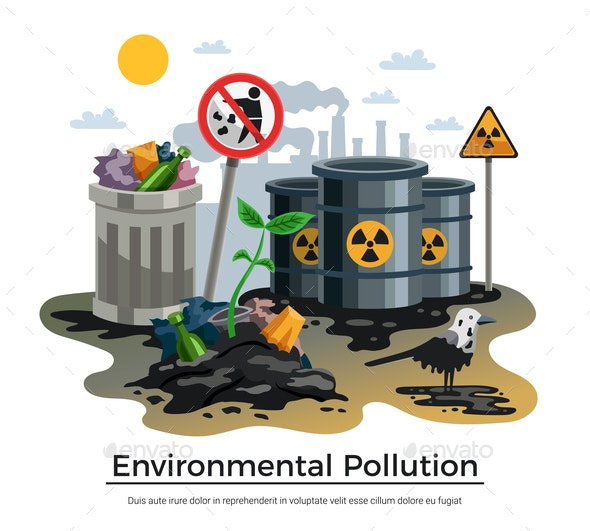Pollution Ecology Flat Composition - Industries Business