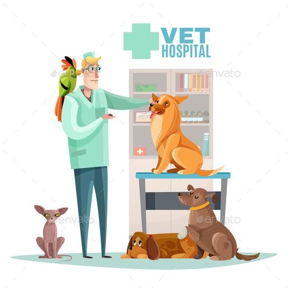 Vet Hospital Pets Illustration - Animals Characters