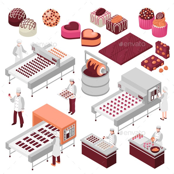 Chocolate Manufacture Isometric Set - Industries Business