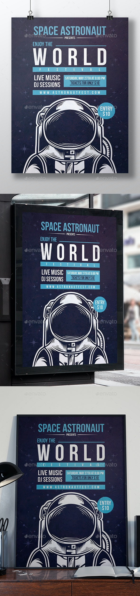 Galaxy Astronaut Flyer Template - Clubs & Parties Events