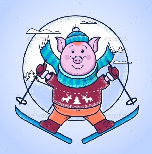 Pig in the Winter Jumps From a Springboard on Skis - Animals Characters