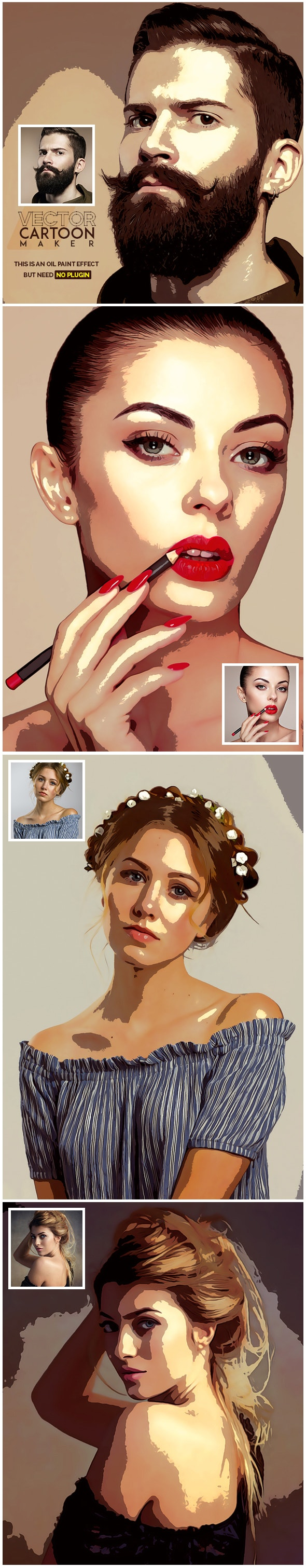 Vector Cartoon Oil Paint - Photo Effects Actions