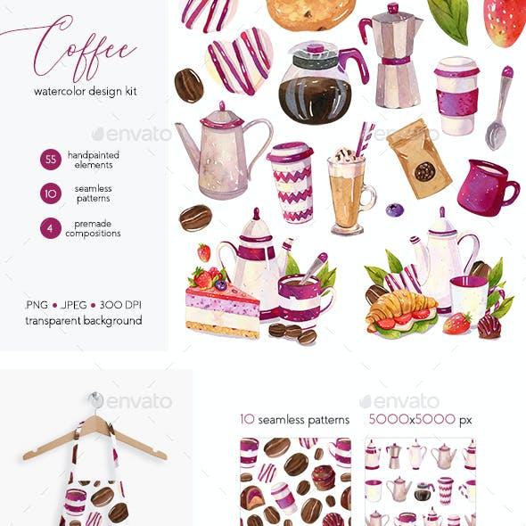 Coffee Design Set - Watercolor Illustrations